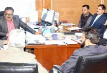 Principal Secretary Finance Navin K Choudhary chairing a meeting of High-Powered Committee in Jammu on Tuesday.