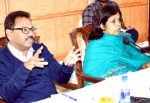 Union Tourism Secretary Rashmi Verma chairing a meeting in Jammu on Monday.
