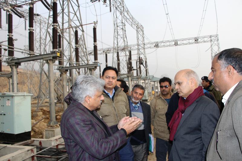 Advisor to Governor Kewal Kumar Sharma during visit to Alasteng Grid Station at Ganderbal on Friday.