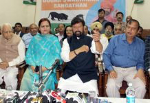 Former Minister and BJP MLA, Ch Lal Singh addressing press conference in Jammu on Saturday. -Excelsior/Rakesh