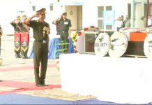 Wreath-laying ceremony of Lance Naik Antony Sebastian KM held at Palam Airport in New Delhi.