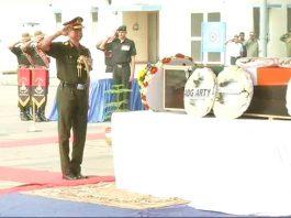 Wreath-laying ceremony of Lance Naik Antony Sebastian KM held at Palam Airport in New Delhi.