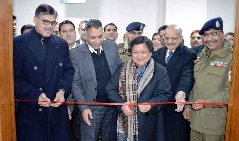 Chief Justice Gita Mittal inaugurating video conferencing facility at District Court Complex at Srinagar on Thursday.