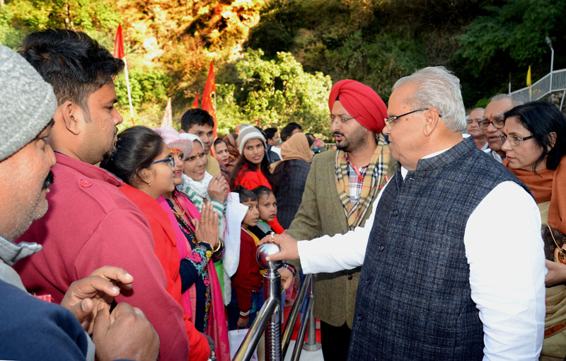 Governor Satya Pal Malik interacting with pilgrims during his visit to Shri Mata Vaishno Devi Shrine on Friday.