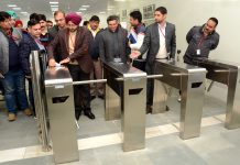 CEO SMVDSB Simrandeep Singh inspecting digital ticketing gates for ropeway on Saturday.