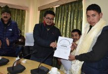 Zaheer Hussain being elected as President of Municipal Committee Kargil on Wednesday.