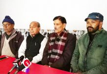 SSDS leaders at a press conference at Bhaderwah on Sunday. — Excelsior/Tilak Raj