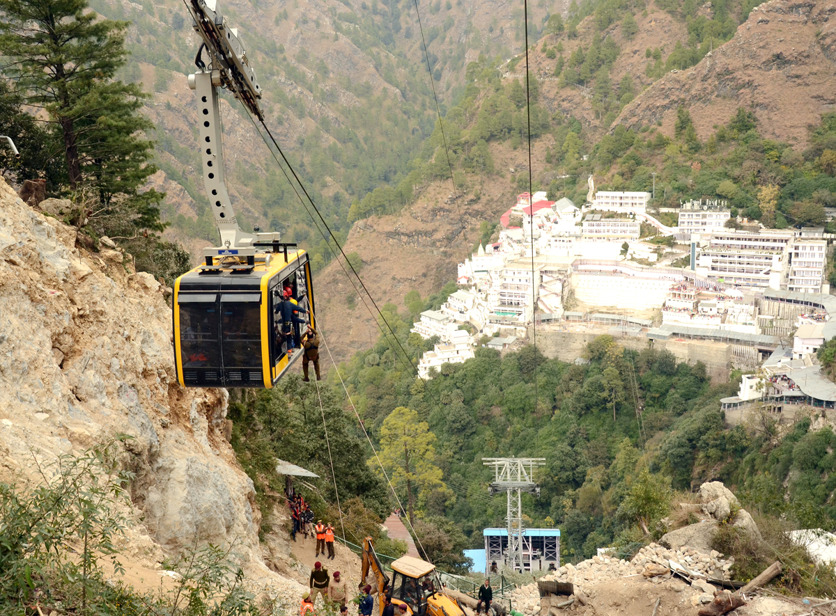 A mock rescue and evacuation drill of Bhawan-Bhairon Passenger Ropeway being conducted on Wednesday.