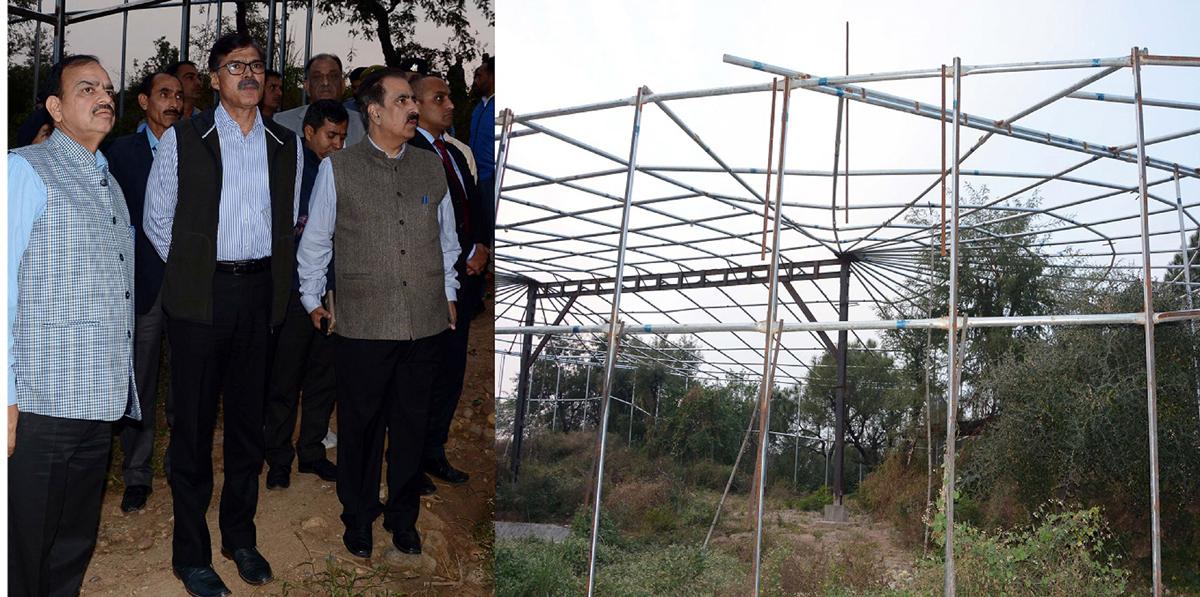 Advisor K Vijay Kumar inspecting work on Jambu Zoo on Saturday.