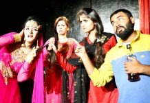 A scene from the play 'Rooh Ka Natak' staged by Natrang at Jammu on Sunday.
