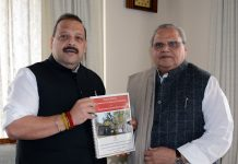 NC Provincial President & MLA Devender Singh Rana calling on Governor Satya Pal Malik on Tuesday.