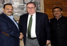 US envoys meeting Devender Rana at Jammu on Thursday.