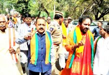 Union Minister Dr Jitendra Singh at a BJP election rally in the Amberpet Assembly constituency in Hyderabad.