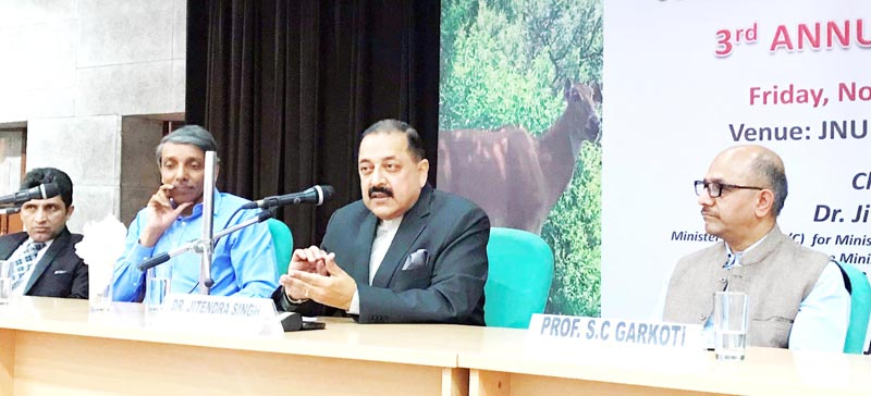 Union Minister Dr Jitendra Singh, flanked by Vice Chancellor Prof M Jagadesh Chander, addressing an interactive programme of students at Jawaharlal Nehru University (JNU), New Delhi on Friday.