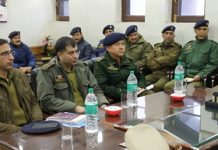 IGP Traffic J&K Alok Kumar chairing a meeting in Srinagar.