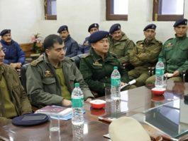 IGP Traffic J&K Alok Kumar chairing a meeting in Srinagar.
