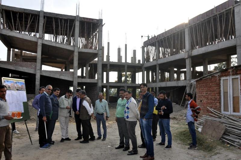 Commissioner Secretary PWD (R&B), Khurshid Ahmad Shah inspecting a languishing project on Saturday.