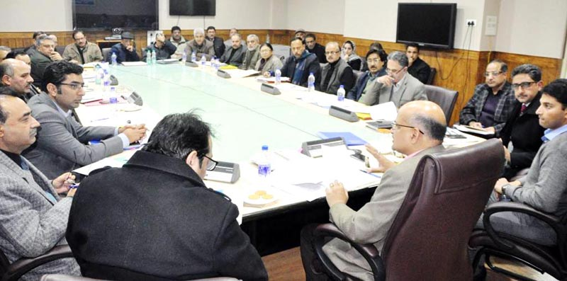 Chief Secretary BVR Subrahmanyam chairing a meeting on Friday.