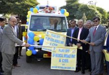 Advisor to Governor K Vijay Kumar and Chief Secretary BVR Subrahmanyam flagging-off Mobile Medical Van in Jammu on Thursday. Rajesh Sharma, Territory Manager BPCL J&K is also seen in the picture.