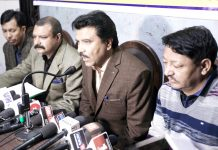 CEC, LAHDC Kargil, Feroz Ahmed Khan addressing press conference in Jammu on Friday. -Excelsior/Rakesh