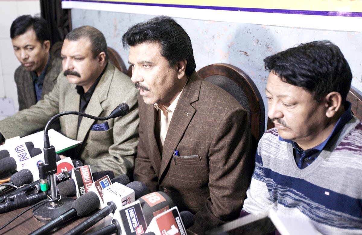 CEC, LAHDC Kargil, Feroz Ahmed Khan addressing press conference in Jammu on Friday. -Excelsior/Rakesh