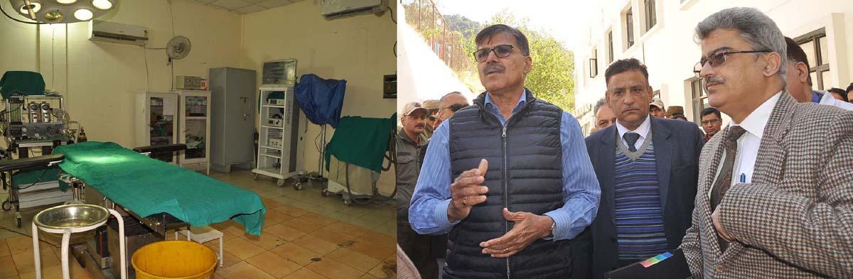 Advisor Vijay Kumar during his visit to Ramban District Hospital.