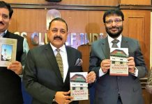 "Union Minister Dr Jitendra Singh, flanked by DG Prasar Bharati Fayyaz Shehryar, releasing the book titled ""Radio Kashmir: In times of peace & war"" written by Rajesh Bhat, at Press Club of India, New Delhi on Tuesday."
