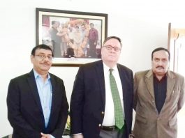 PDP leader Ved Mahajan during meeting with Minister for Political Affairs in US Embassy, New Delhi, Lesslie Virguerie at Jammu on Friday.