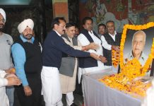 Tributes being paid to former DyCM, Pt Mangat Ram Sharma by Congress leaders and fans during a function in Jammu on Saturday. -Excelsior/Rakesh