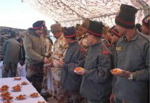 Northern Command chief Lt Gen Ranbir Singh meeting troops at Eastern Ladakh on Tuesday.