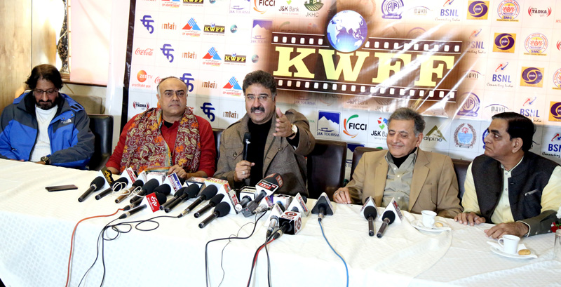 Kashmir World Film Festival organizers during a press conference on Tuesday. —Excelsior/Shakeel