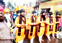 Nagar Kirtan being taken out in Udhampur on Sunday.