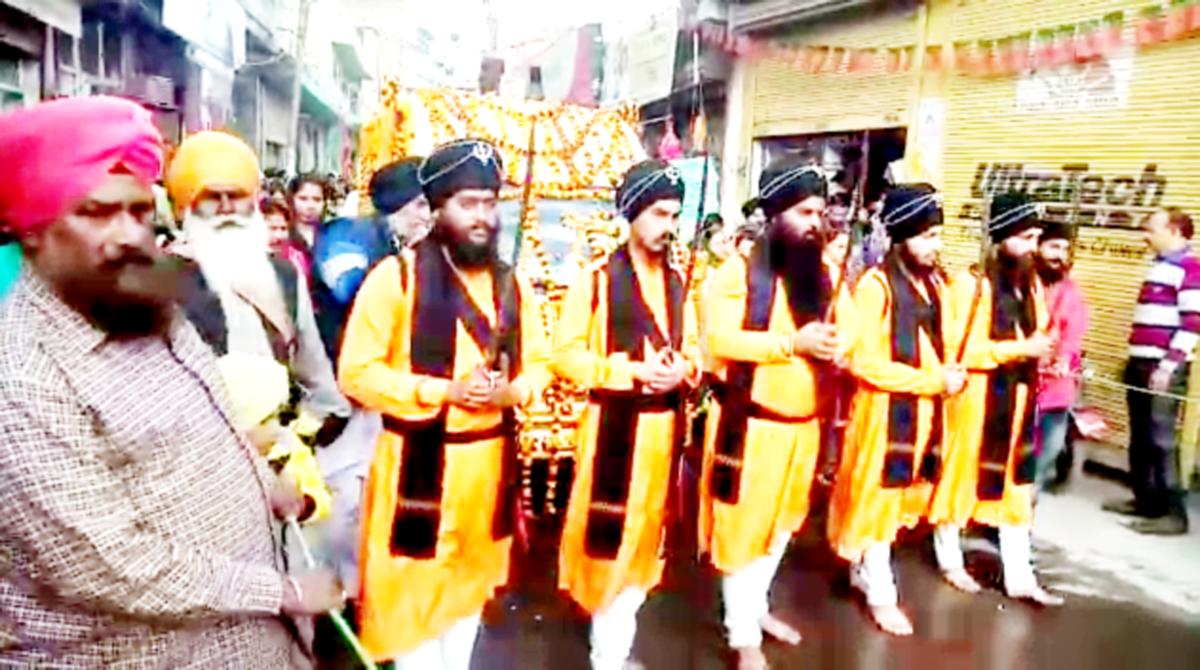 Nagar Kirtan being taken out in Udhampur on Sunday.