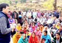 MLC, Vibodh Gupta addressing a public meeting at Kerrian Rajouri on Sunday. -Excelsior/Bhat
