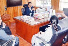 Principal Secretary Finance Navin Choudhary chairing a meeting on Friday.