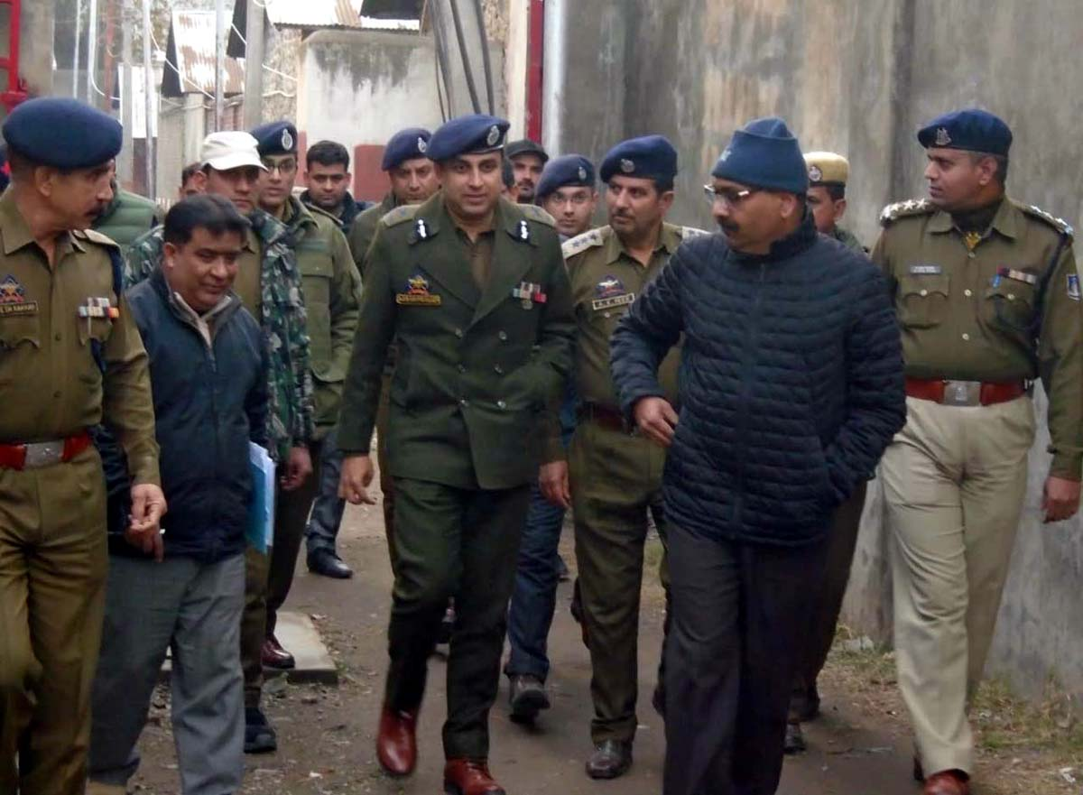 DGP Dilbagh Singh during visit to Central Jail Srinagar on Saturday.