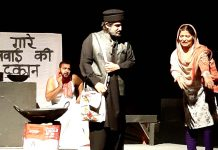 A scene from play 'Shah-Shahni' staged by Bhartiya Kala Sangam at Drama Festival in Jammu on Sunday.