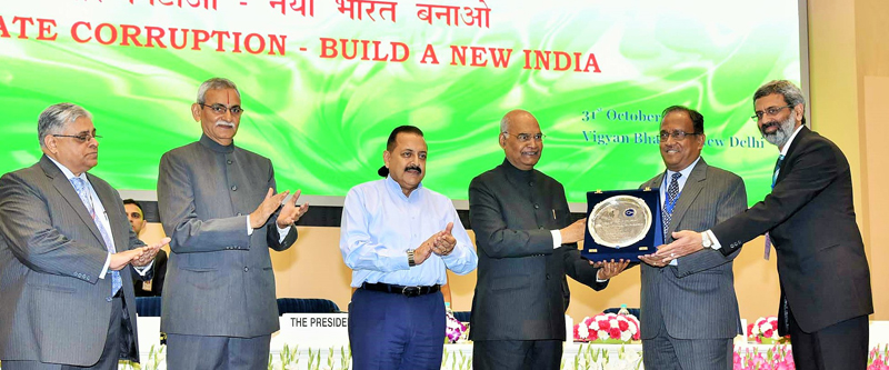 President, Ram Nath Kovind presenting Vigilance Excellence Awards at New Delhi on Wednesday. Also seen are Minister In-Charge Central Vigilance Commission Dr Jitendra Singh and Central Vigilance Commissioner K.V. Choudhary.