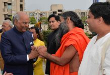 "President Ram Nath Kovind being received by Yog Guru Swami Ramdev at the inauguration of ""Gyan Kumbh"" at Patanjali Yogpeeth, Haridwar in Uttarakhand on Saturday. (UNI)"