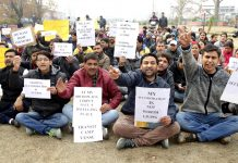 All Parties Migrants Coordination Committee activists protesting at Partap Park Srinagar on Sunday. -Excelsior/Shakeel