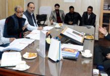 Secretary PHE, I&FC Farooq Ahmed Shah chairing a meeting in Jammu on Thursday.