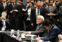 Prime Minister, Narendra Modi at the 13th East Asia Summit Plenary, in Singapore on Thursday.