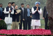 Former Prime Minister Manmohan Singh, UPA Chairperson Sonia Gandhi and Congress President Rahul Gandhi arriving at Shakti Sthal to pay tribute to former Prime Minister Indira Gandhi on her 101st birth anniversary, in New Delhi on Monday. (UNI)
