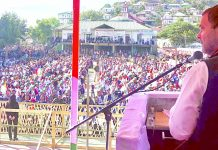 Congress President Rahul Gandhi addressing a public meeting at Kahrawt field in Champhai district of Mizoram on Tuesday. (UNI)