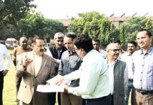 Union Minister Dr Jitendra Singh, accompanied by Vice Chancellor JNU, Prof. Jagdish Kumar and senior officers, visiting the site of Northeast Students' Hostel in the campus of Jawaharlal Nehru University, New Delhi on Wednesday.