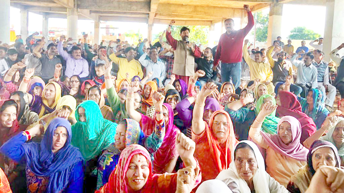 Ch Lal Singh addressing a public meeting at Satrayan in R S Pura on Sunday.