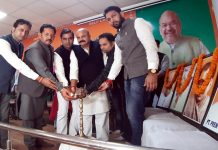 BJYM activists during Yuva Jodo Abhiyan at Jammu on Sunday.