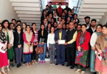 Resource person Dr KC Sharma with students and faculty members of ICccR & HRM in JU after an interaction on Thursday.