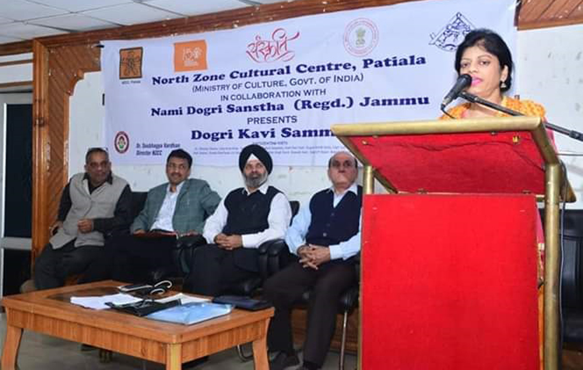 A poetess reciting Dogri poem during a meet by Nami Dogri Sanstha at Jammu on Wednesday.