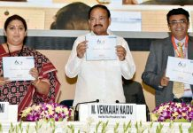Vice President, M. Venkaiah Naidu releasing souvenir on CITI Global Textiles Conclave 2018, organised to commemorate CITI Diamond Jubilee celebrations, in New Delhi on Tuesday.